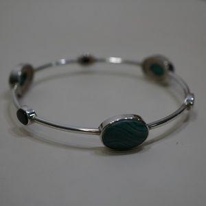 Sterling Silver Genuine Malachite & Onyx Bracelet